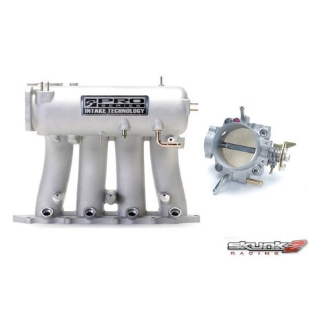 SKUNK2 Intake Manifold Silver Throttle Body Alpha 70mm Prelude H-Series Manifold 307-05-0300, (70 Mm Brake)