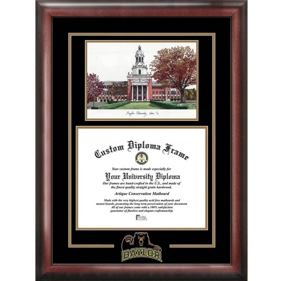 """Baylor University 11"""" x 14"""" Spirit Graduate Diploma Frame with Campus Images Lithograph"""