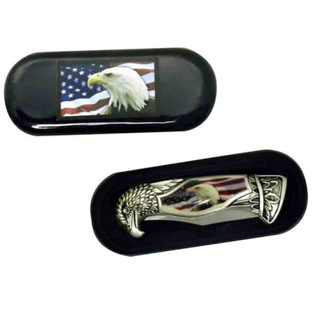 - USA Flag & American Bald Eagle Head Shaped Folding Pocket Knife w/ Gift Box Case