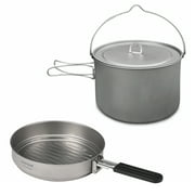 Lightweight Camping Titanium Cookware Set 2.8L Pot with 1.1L Pan for Outdoor Camping Backpacking Hiking Picnic Cooking Equipment
