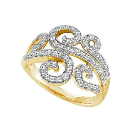 14kt Yellow Gold Round Diamond Curled Swirl Fashion Band Ring 1/2 Cttw Diamond Swirl Fashion Ring