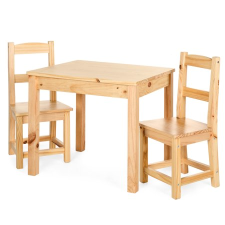 Best Choice Products 3-Piece Kids Toddlers Multipurpose Wooden Activity Table Furniture Set for Nursery, Bedroom, Play Room, Living Room, Classroom w/ 2 Chairs - Natural ()