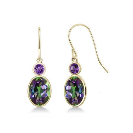 - 3.40 Ct Oval Green Mystic Topaz Purple Amethyst 14K Yellow Gold Earrings