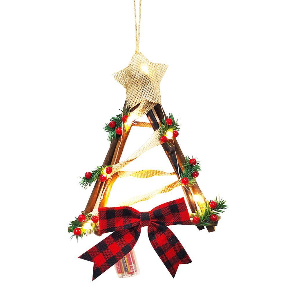 LED Rattan Lights Christmas Xmas Decor Garden Wall Lights Hanging Flower Ring US