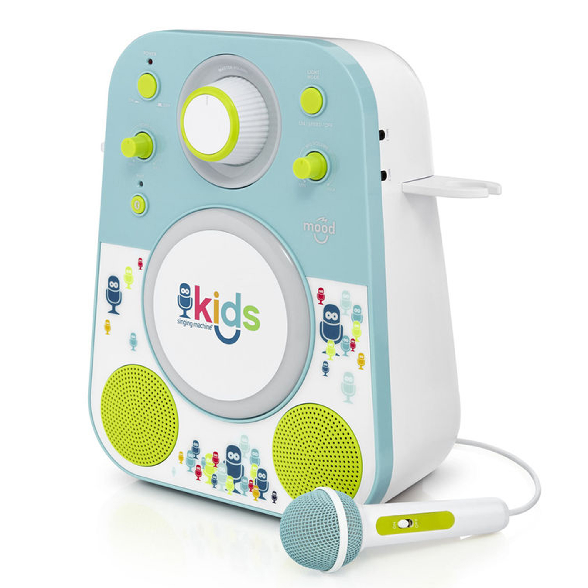 Singing Machine - Kids Mood LED Glowing Bluetooth Sing-Along Speaker with Wired Youth Microphone Doubles as a Night Light, Blue/Green