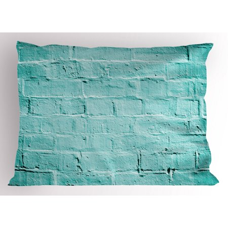 Mint Pillow Sham Brick Old Wall Background in Vibrant Tones Architecture Urban Building Artsy Picture, Decorative Standard Size Printed Pillowcase, 26 X 20 Inches, Turquoise, by