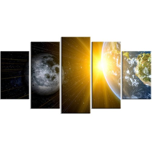 Design Art Metal 'Sun Moon/Earth - Our Worlds' 5 Piece Graphic Art Set