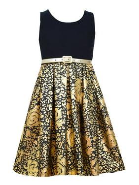 52a36651d22 Product Image Bonnie Jean Little Girl 2T-6X Black Gold Belted Foil Denim  Fit Flare Dress