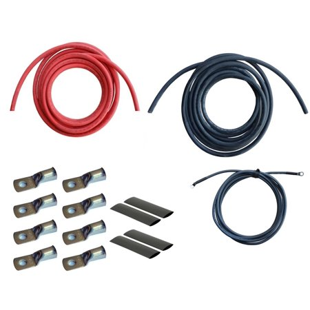 WindyNation 2/0 Gauge AWG (15 Feet Black + 15 Feet Red) Power Inverter Battery Cable Wire Kit for DC to AC Inverters RV, Car, Solar, Marine, Off-Grid