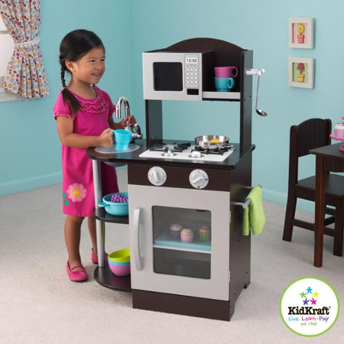 Kidkraft Modern Espresso Silver Toddler Kitchen Kids Play Set