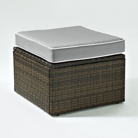 Weather Wicker Ottoman Linen (Crosley Furniture KO70091BR-GY Palm Harbor Resin Wicker Outdoor Ottoman (Brown/Grey))