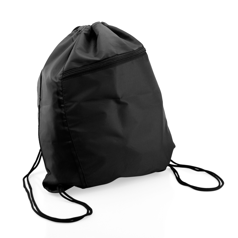 Colorblock Drawstring Backpack Cinch Sack School Tote Gym Bag Sport Pack - Black