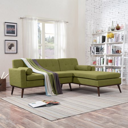 Noble House Sullivan Mid Century Modern 2 Piece Fabric Sectional Sofa And Lounge Set, Green,