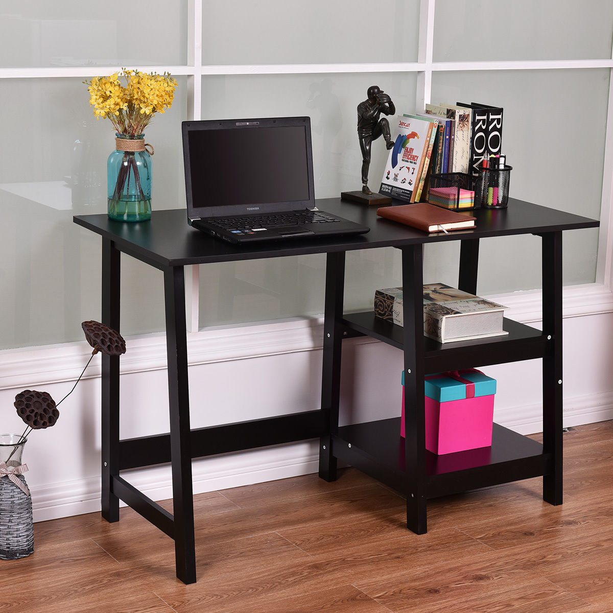 table with shelves. costway black modern trestle desk laptop writing working table shelves computer with g
