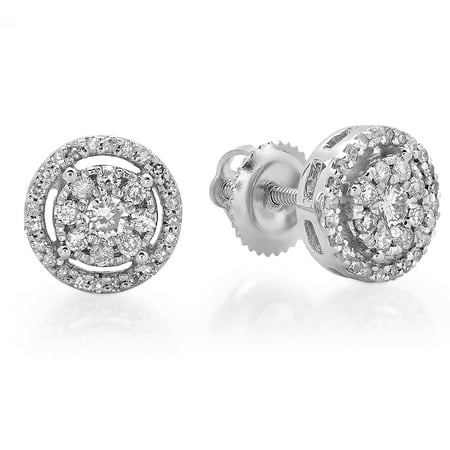 Dazzlingrock Collection 0.45 Carat (ctw) 18K Round White Diamond Ladies Cluster Flower Stud Earrings 1/2 CT, White Gold