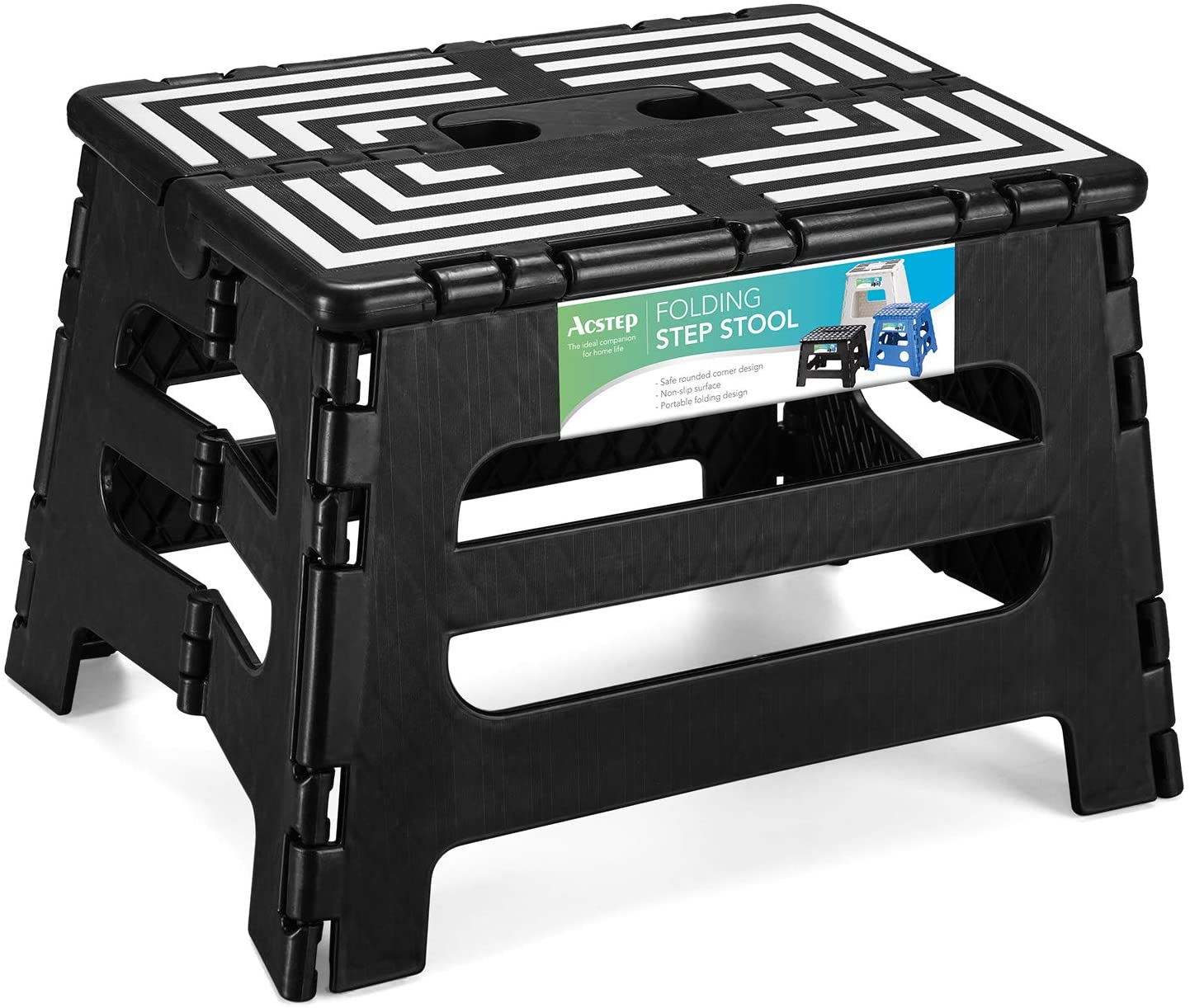 Acstep Folding Step Stool 9 Inches Lightweight Small Foldable Step Stool For Kids And Adults Non Slip Stepping Foot Stools For Kitchen Bathroom Bedroom Black Walmart Com Walmart Com