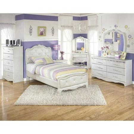 Ashley Zarollina 8 Piece Faux Croc Leather Twin Bedroom