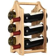 Wine Rack, 6-Bottles Rustic Wood Wine Bottle Holder, Free Standing Countertop Wine Racks Storage