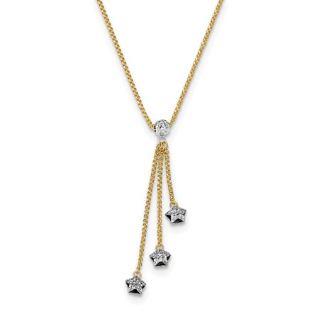 "Solid 14k Yellow and White Gold Two Tone Diamond-cut 3-Stars 2in Extension Pendant Necklace Charm Chain 16"""" (Width = 5mm ) -  AA Jewels"
