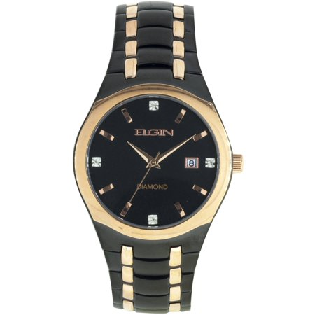 - Men's Black Round Dial and Date Window Analog Watch, Black and Rose Gold Bracelet