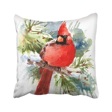 ARTJIA Green Painting Watercolor Bird Red Cardinal Winter Christmas Hand White Drawn Beautiful Pillowcase Pillow Cover 18x18 inches
