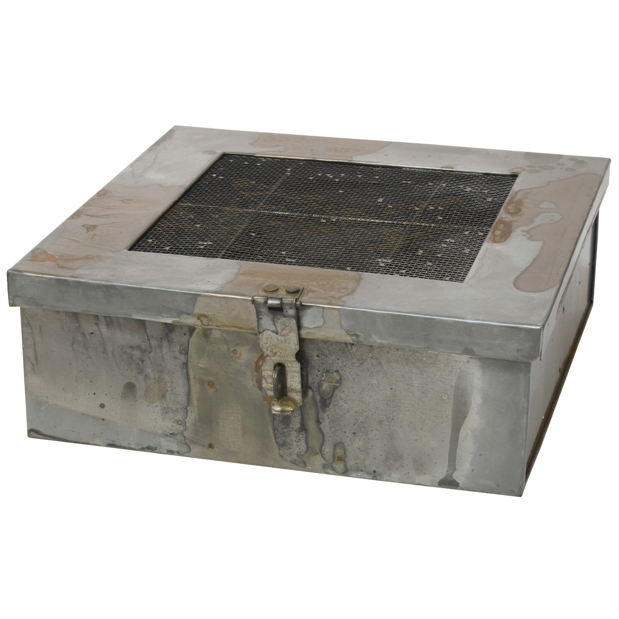 Stonebriar Collection Aged Galvanized Metal Box with Hinged Lid and Compartments