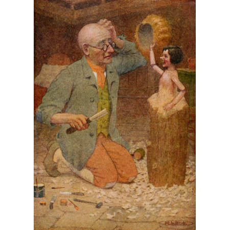 Posterazzi Pinnochio 1920 He saw his yellow wig in the puppets hand Canvas Art - Maria Kirk (24 x - Puppet From Saw
