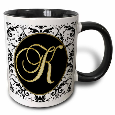 3dRose Image of The Script Letter K in Black White and Gold - Two Tone Black Mug, 11-ounce