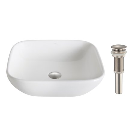KRAUS Elavo™ Soft Square Ceramic Vessel Bathroom Sink in White with Pop-Up Drain in Brushed Nickel