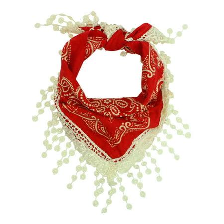 Traditional Cotton Bandana Scarf With Crochet Lace Trim - Red Cowboy Bandana