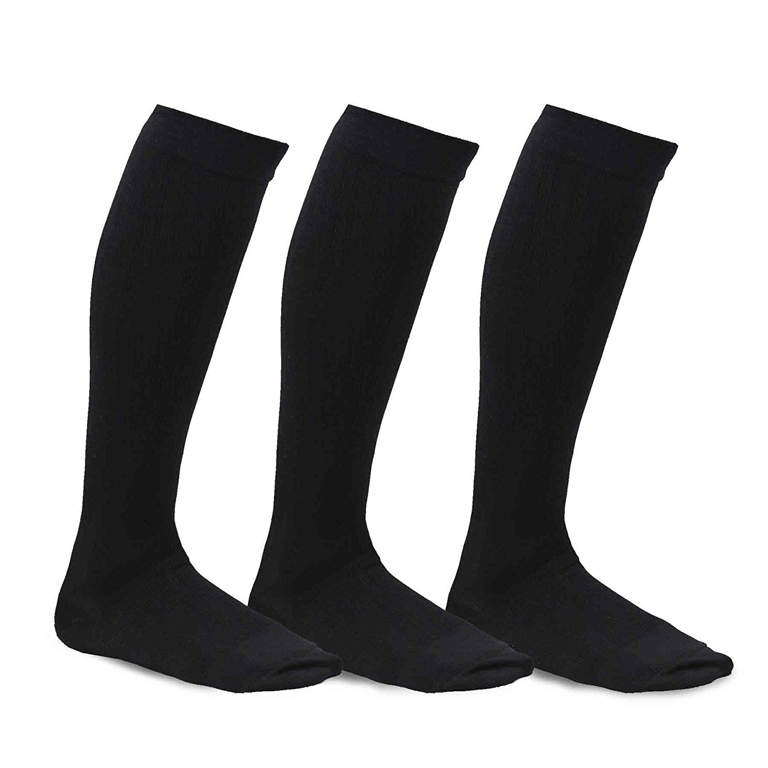 TeeHee Microfiber Compression Knee High Socks with Rib 3-Pack (Small (8-9), Black)