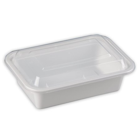 SafePro 24 oz. White Rectangular Microwavable Container with Clear Lid, Lunch Box, Plastic Take-Out Containers (Case of (Industrial Lunch Box)