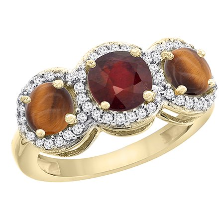 14K Yellow Gold Enhanced Ruby & Tiger Eye Sides Round 3-stone Ring Diamond Accents, size - Gold Ruby Eyes