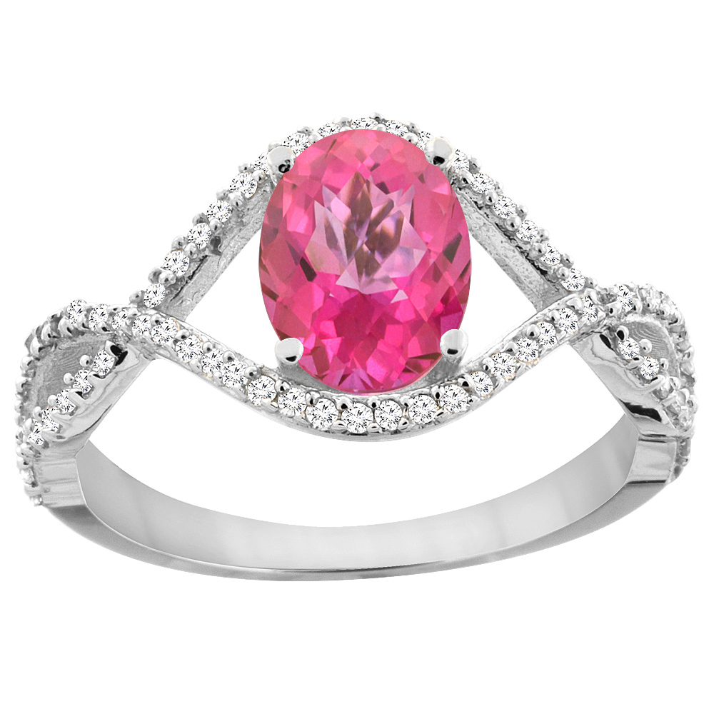 10K White Gold Natural Pink Sapphire Ring Oval 8x6 mm Infinity Diamond Accents, size 5 by Gabriella Gold