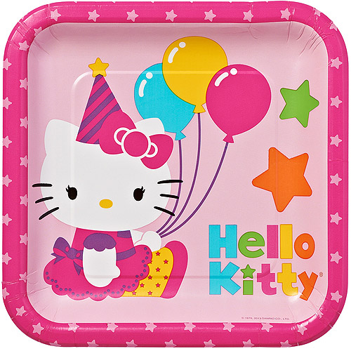 "9"" Hello Kitty Square Paper Party Plate, 8ct"
