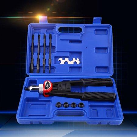 EOTVIA 1 set Hand Nut Thread Riveter Kit Rivet Gun with Nosepieces 5mm