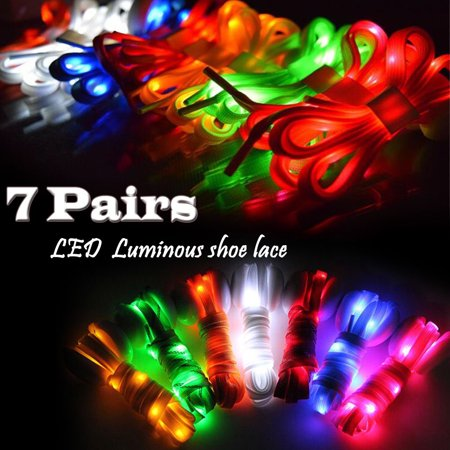 IClover [ 7 Pairs ] Nylon Running Safety LED Shoelaces Luminous Flashing Rave Party Strap Shoe Laces for Halloween Party Dancing Running Cycling Hiking with 4 Flashing Modes](Led Running)
