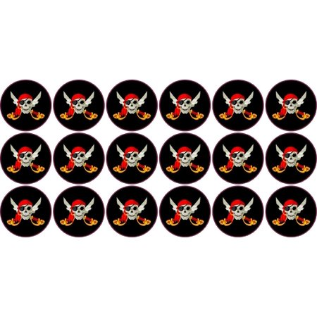 Pirate Adventure Sticker (.875in x .875in Full Color Jolly Roger Circular Vinyl Pirate Stickers )