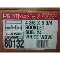 "White A2 Envelopes, 4 3/8"" X 5 3/4"" Booklet, Bulk 1000/carton"
