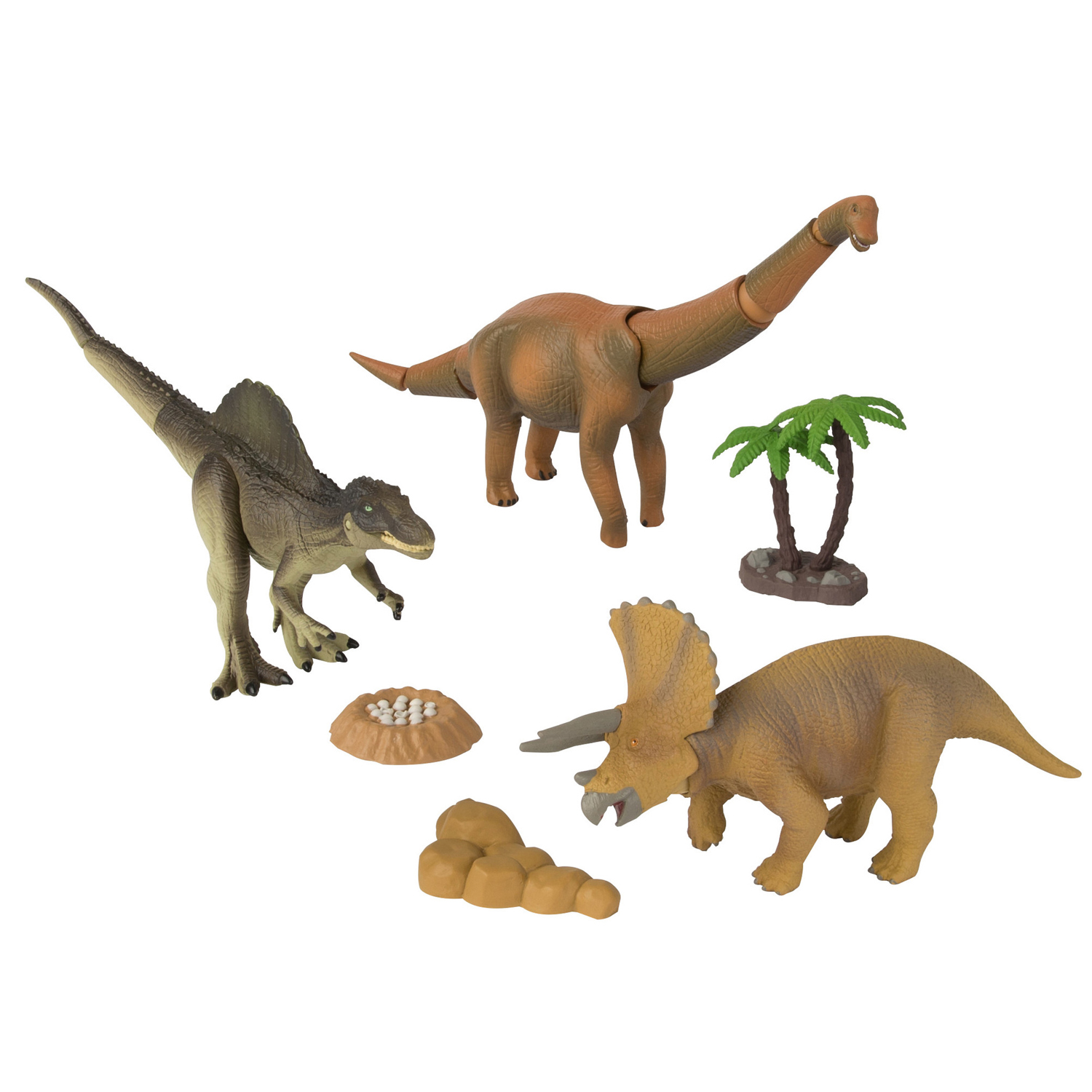 TOMY ANIA Dino Stomp Value Pack: Tricerotops, Brachiosaurus, Spinosaurus with Tree, Rocks and a Nest with Eggs