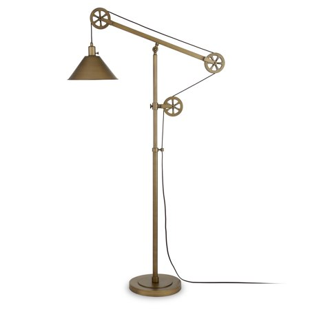 Descartes Floor Lamp in Antique Brass with Pulley System