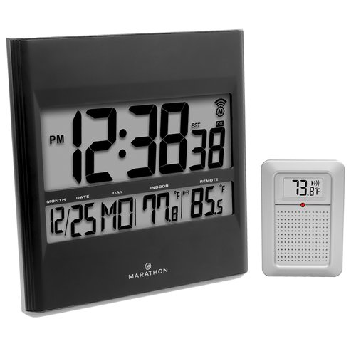 Marathon Watch Company Digital Atomic Wall Clock with Indoor/Outdoor Temperature and Date