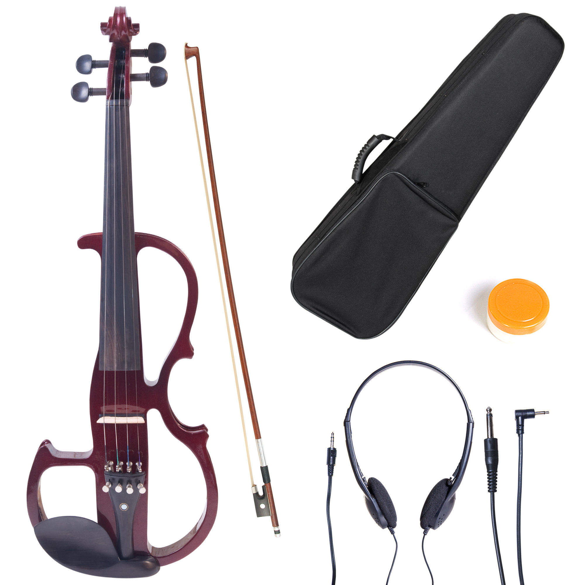 Cecilio 4/4 CEVN-2NA Solidwood Metallic Mahogany Electric/Silent Violin with Ebony Fittings-Full Size