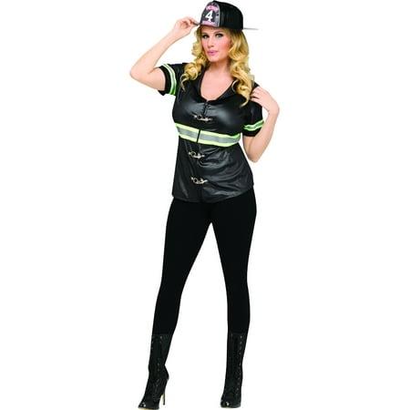 Fire Woman Halloween Costume Homemade (Adult's Womens Firefighter Beauty Shirt)
