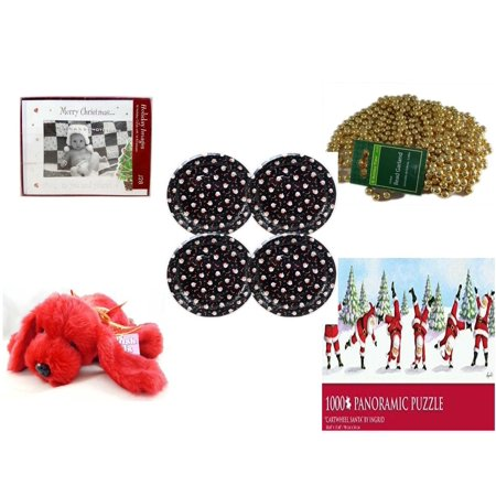 """Christmas Fun Gift Bundle [5 Piece] -  Images """"Merry  To You And Yours."""" Photo Frame Cards w/Envelopes 16 Count - Gold Bead Garland Strand 18"""