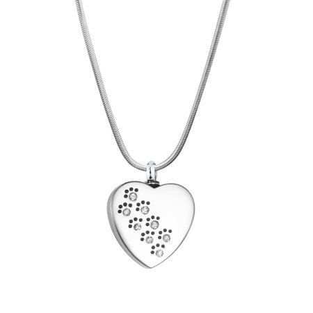 Crystal Heart Keepsake - Anavia Personalized Crystal Paw Print Heart Memorial Necklace Ash Urn Keepsake with Gift Box