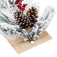 Holiday Time Flocked Pine Christmas Garland with Pine Cones, 3'