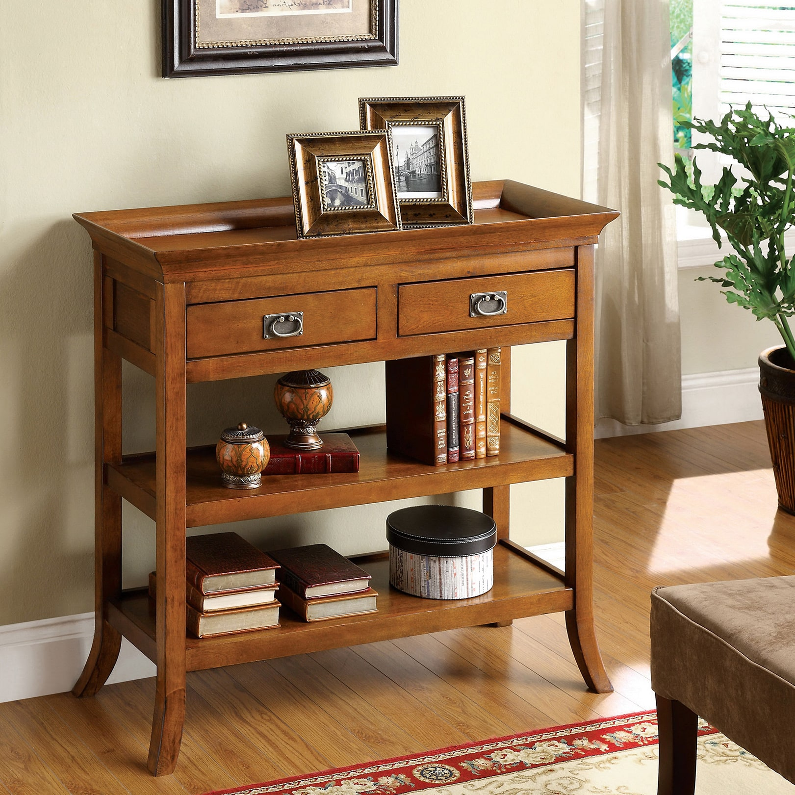 Beautiful Furniture Of America Kams Oak Finish Wood Bottom Trays 2 Drawer End Table