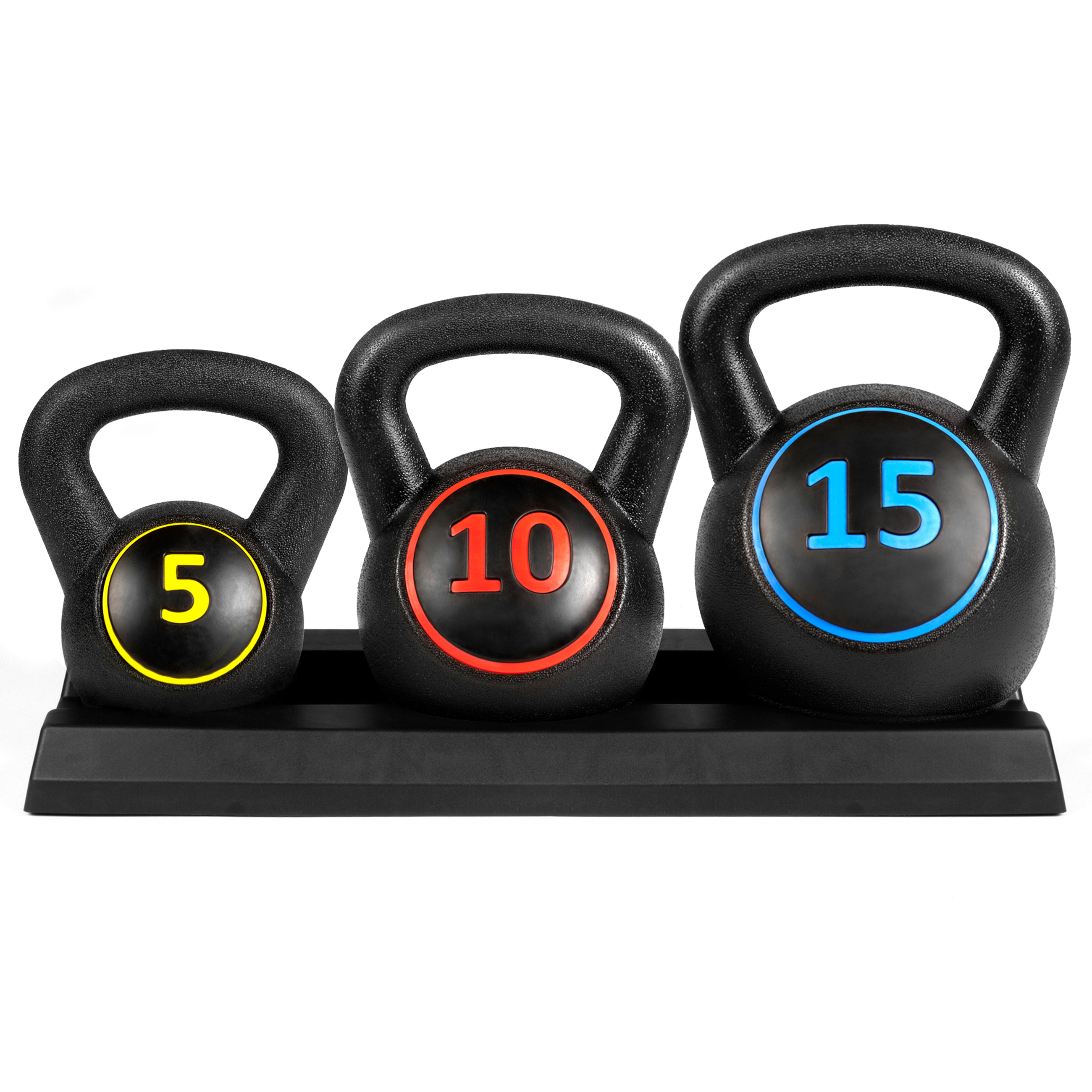 Best Choice Products 3-Piece Fitness HDPE Kettlebell Weights Set w  Base Rack Black by
