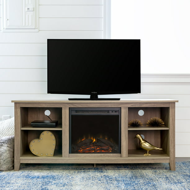 "Walker Edison Traditional Fireplace TV Stand for TVs up to 64"" - Driftwood"
